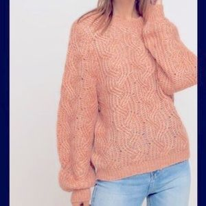 Lush Womens Small Sweater Cable Knit Balloon Sleeve Peach Marled Puff
